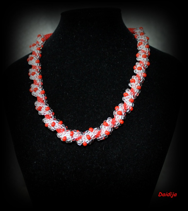 Red necklace (tow) handiwork