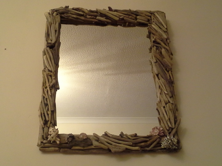 "Mirror with "" & quot driftwood; heartburn."