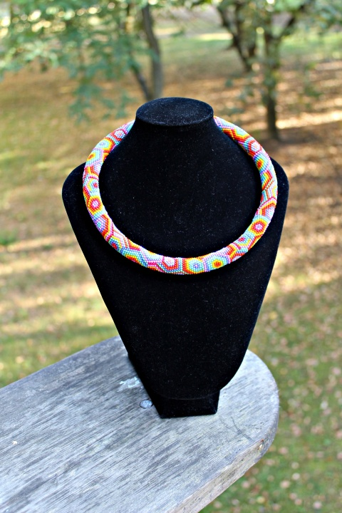 Rainbow beaded rope necklace - Rope necklace - Bead crochet necklace with geomet picture no. 2