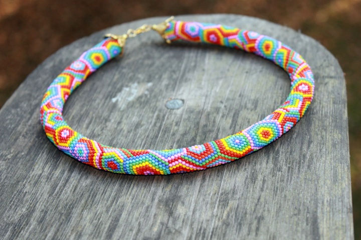 Rainbow beaded rope necklace - Rope necklace - Bead crochet necklace with geomet