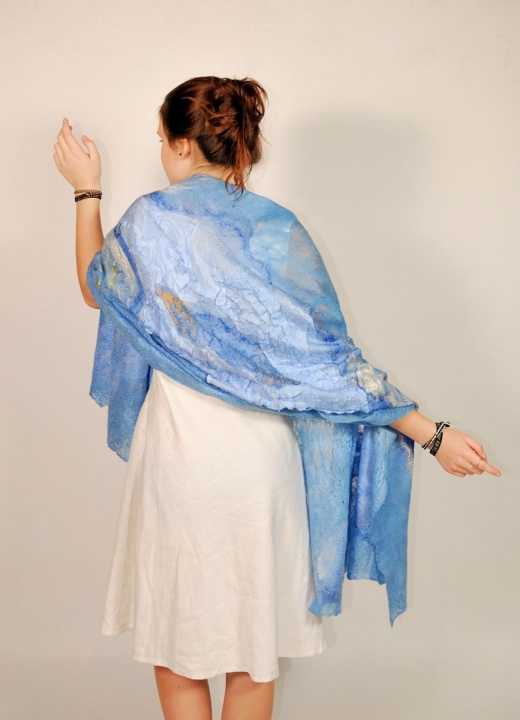 "felted  blue scarf "" touch"""