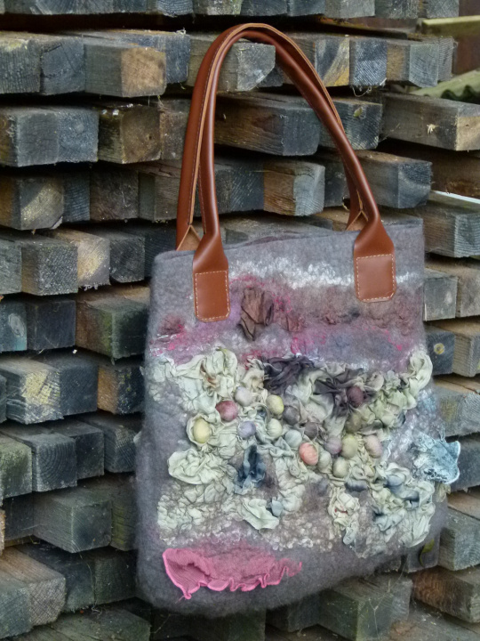 "felted motley handbag leather handles ""lost in"""