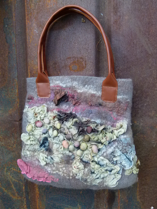 "felted motley handbag leather handles ""lost in"" picture no. 3"