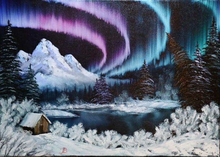 Alaska Northern Lights O Artist Trintuke Handmade Oil Painting