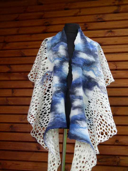 "felted white and blue cloak  ""heaven"" picture no. 2"
