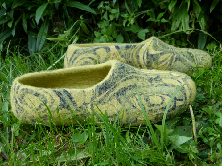 "felted green slipper ""explorations"""