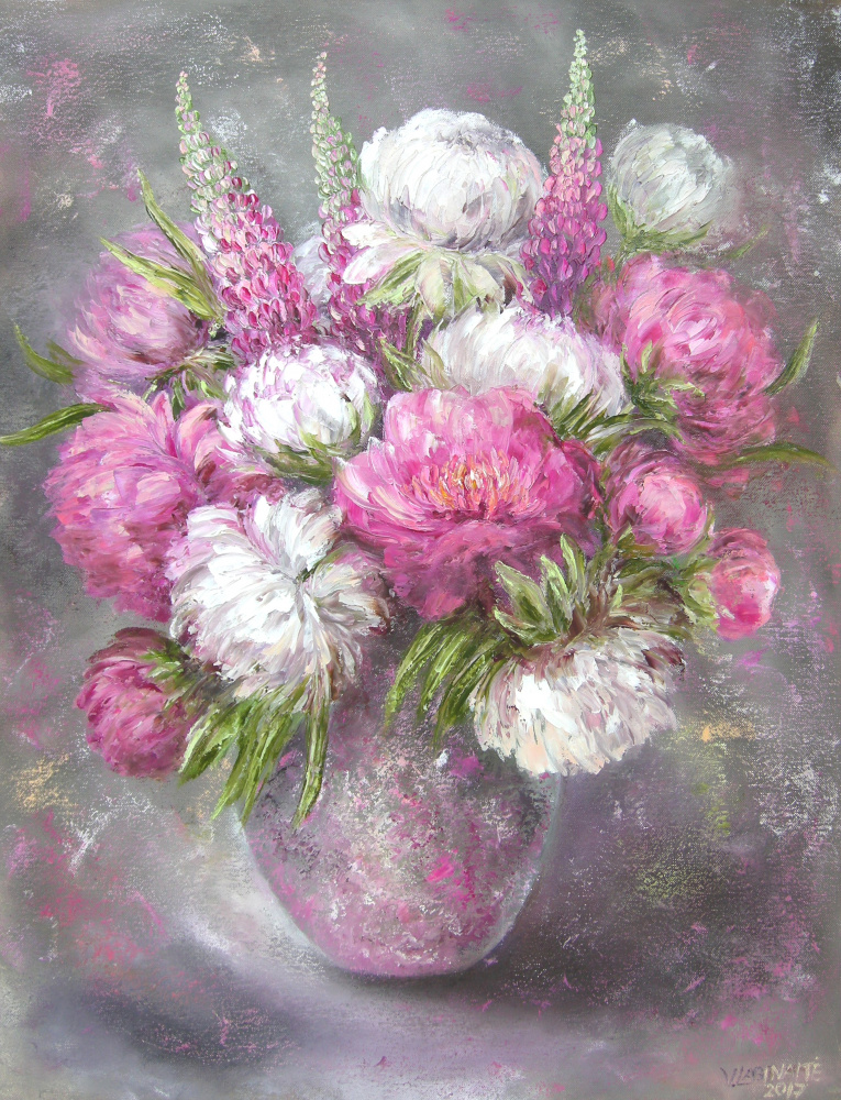 Peonies and lupines 55x70, oil on canvas