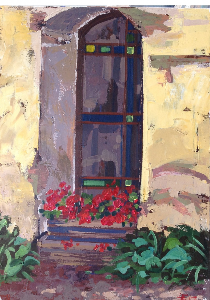 Old House Window. Acrylic painting on canvas. Canvas size 50x70cm.