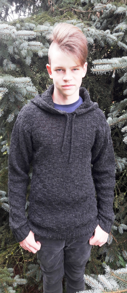Hooded grey sweater picture no. 3