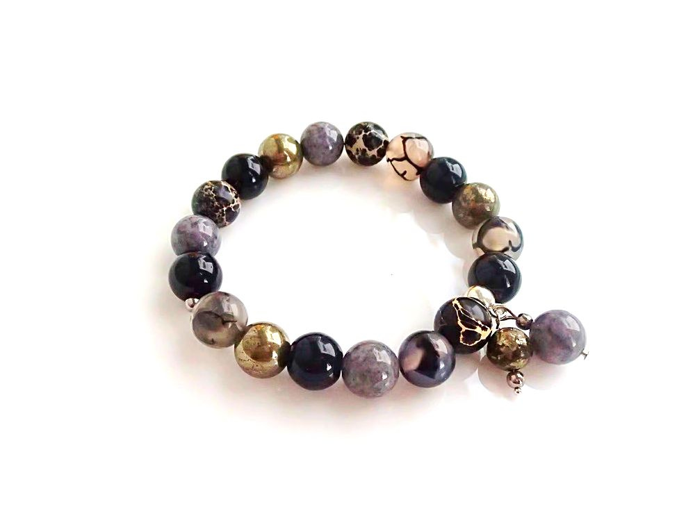 Natural gemstone bracelete Grey and Black  Mix color picture no. 2