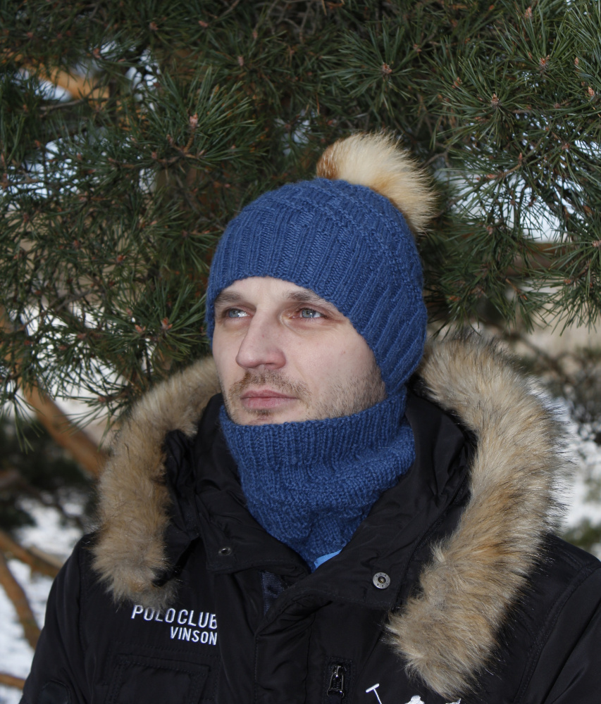 Men's Knitted Hat and cowl
