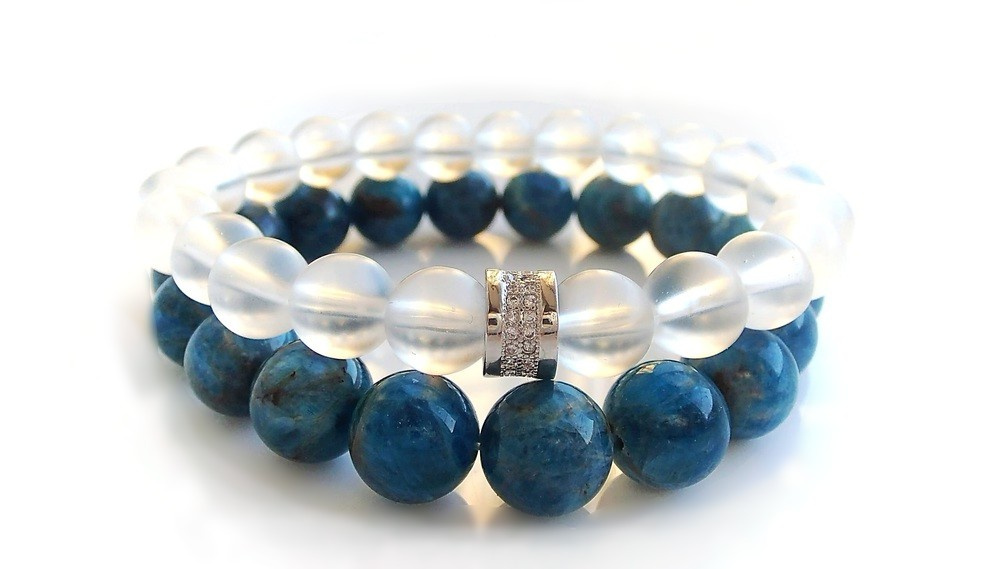 Apatite and Crystal Mountain Quartz bracelets