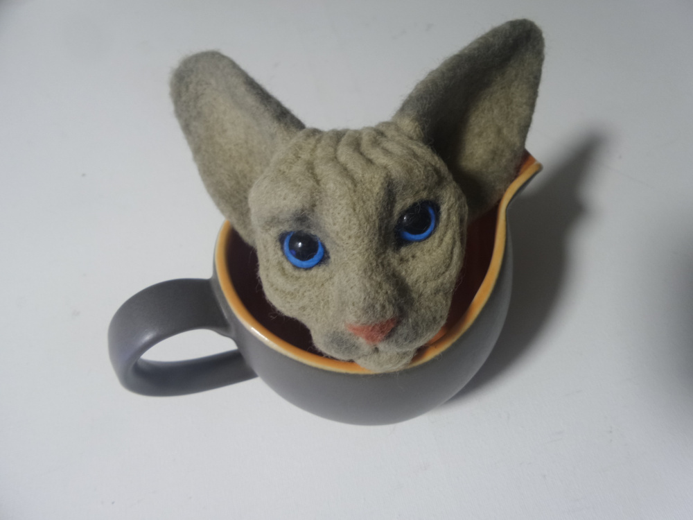 Sphynx mom birthday gift Needle felted cat Bag decor picture no. 2