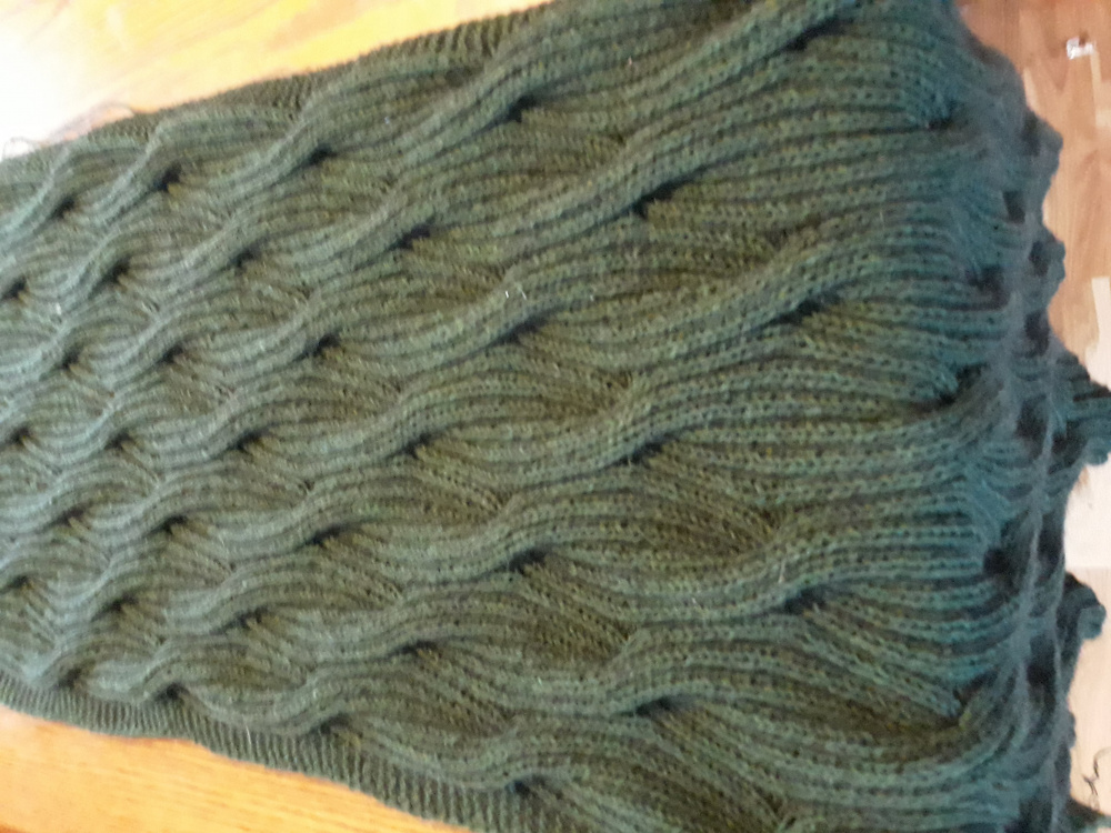 Knitted green scarf picture no. 2