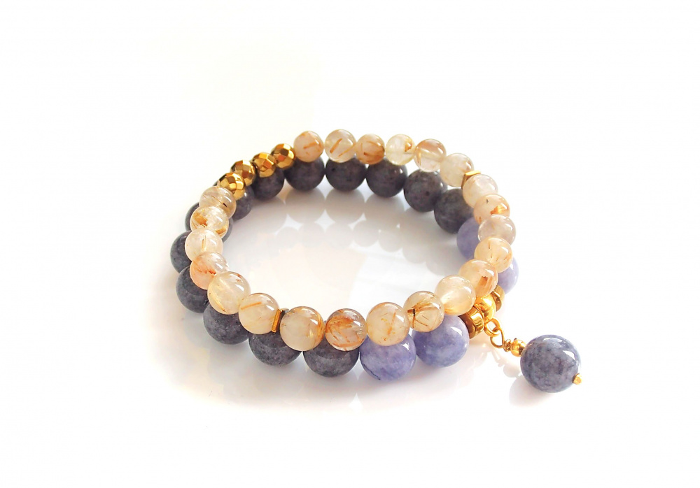 Angelite, Jade and Rutilated Quartz bracelets