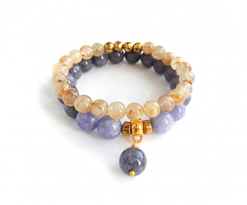 Angelite, Jade and Rutilated Quartz bracelets picture no. 2
