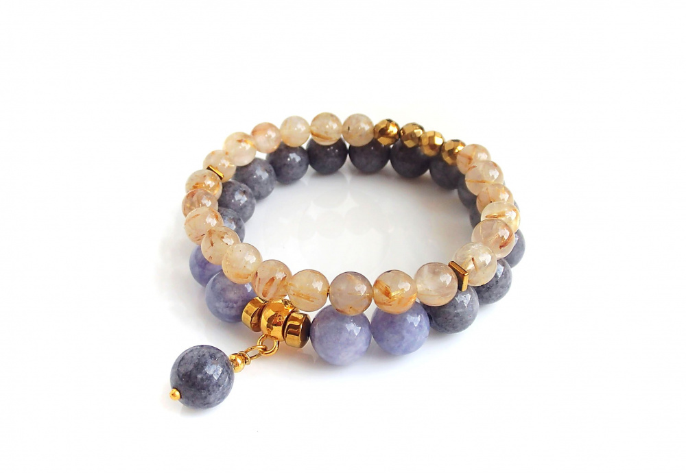 Angelite, Jade and Rutilated Quartz bracelets picture no. 3