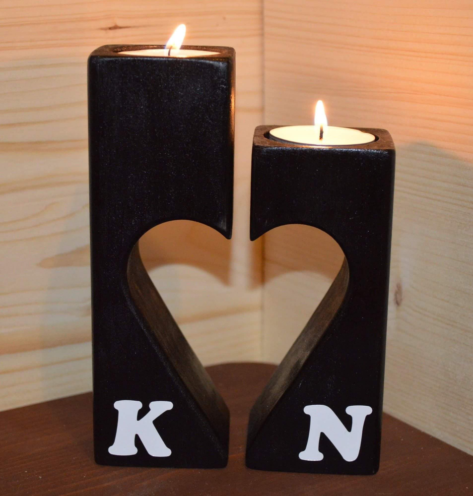Wooden candle holders picture no. 2