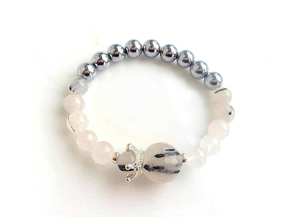 Turmalated quartz bracelet with crown