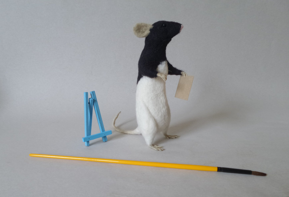 Felted pet portrait, rat art doll