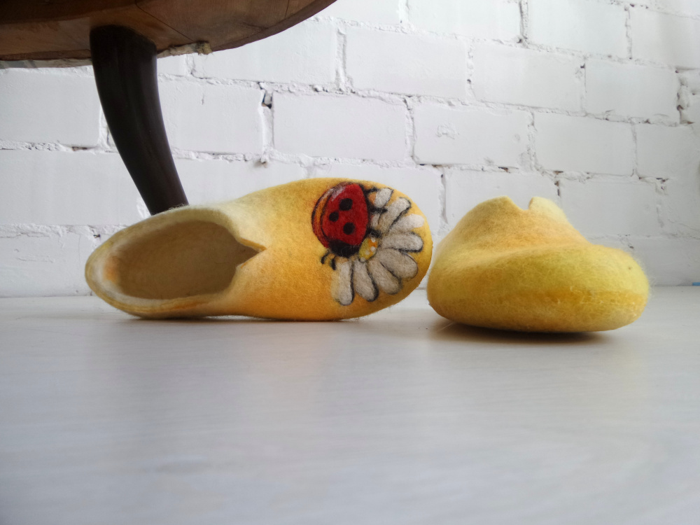 Ladybug Felted wool slippers for women picture no. 2