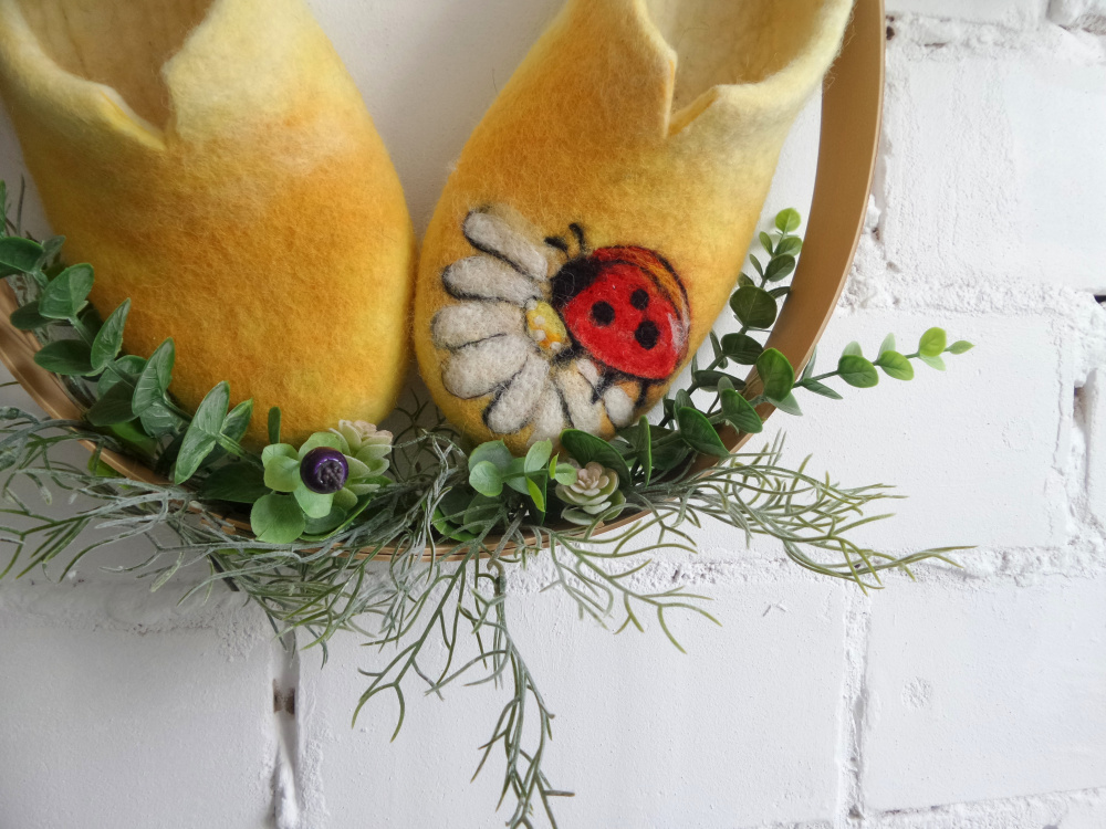 Ladybug Felted wool slippers for women