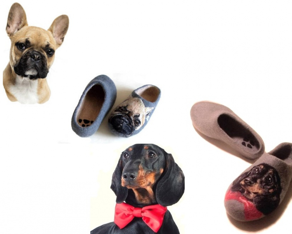 Felt slippers dog Cat Pet portrait painted to order