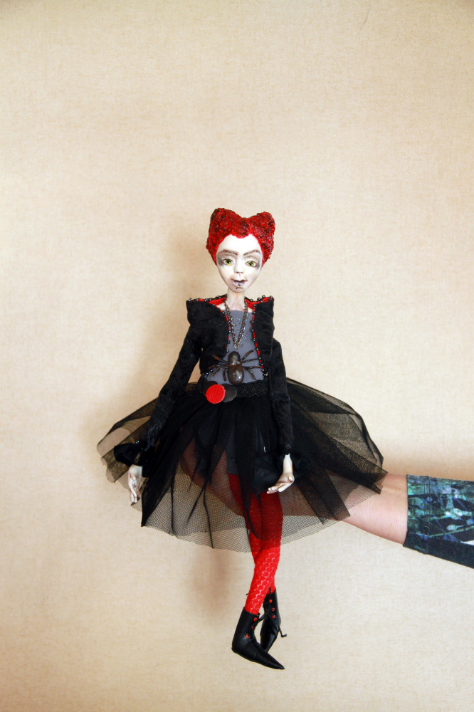 OOAK collectibles art doll, Halloween doll decoration, Black art doll, Polymer c