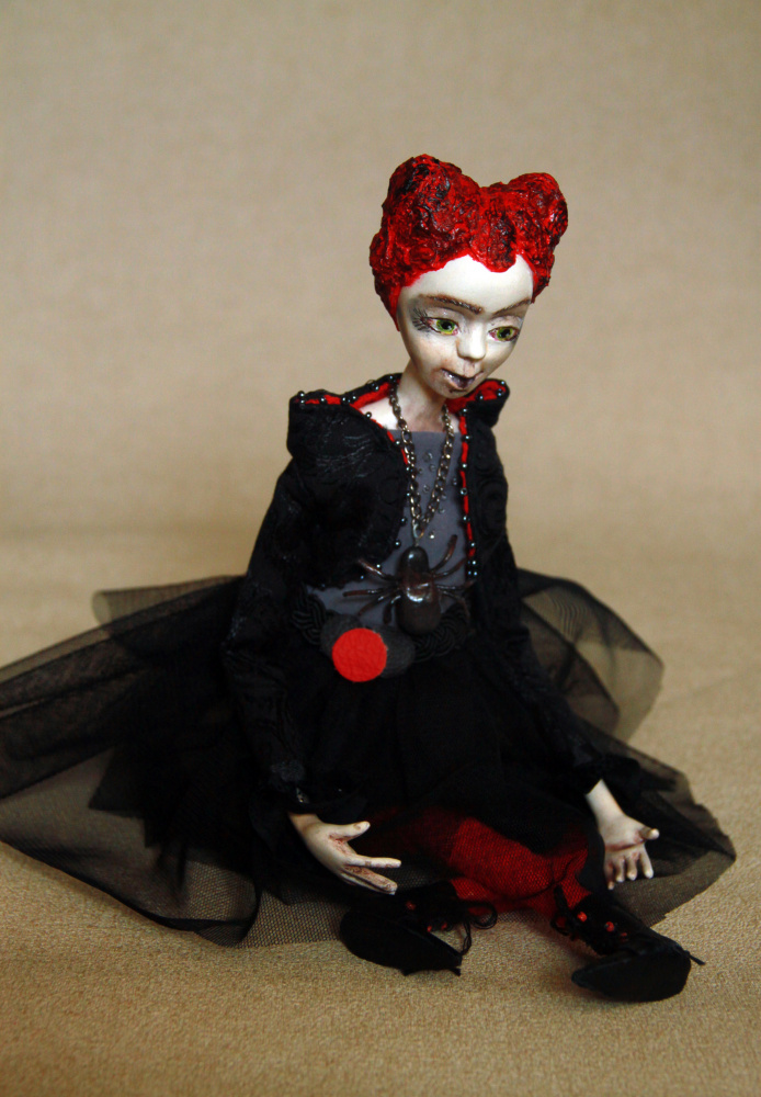 OOAK collectibles art doll, Halloween doll decoration, Black art doll, Polymer c picture no. 2