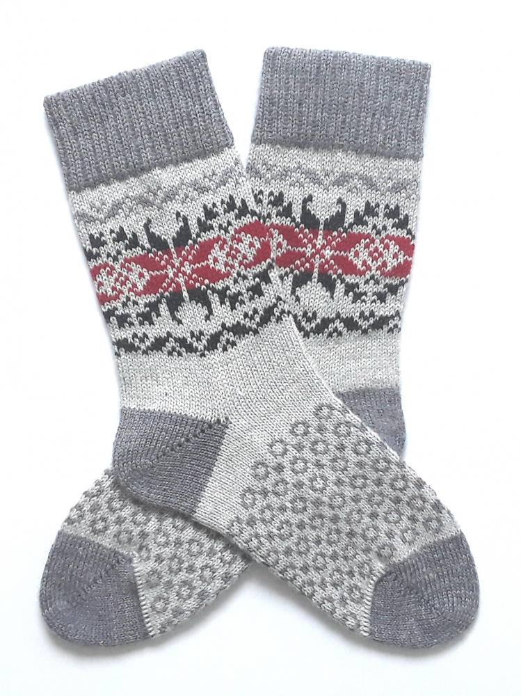 Gray wool socks with patterns  picture no. 3