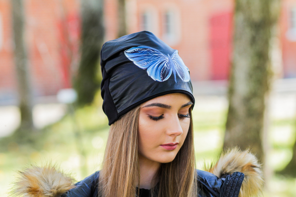 "Cotton and Faux Leather beanie - ""Blue Butterfly"" picture no. 3"