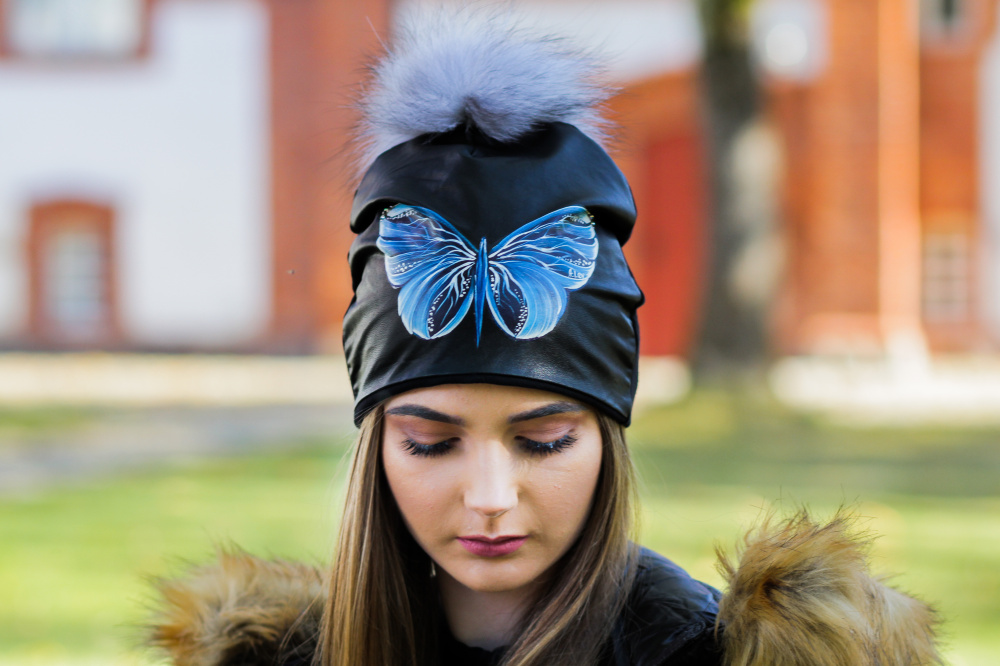 "Cotton and Faux Leather beanie - ""Blue Butterfly"""