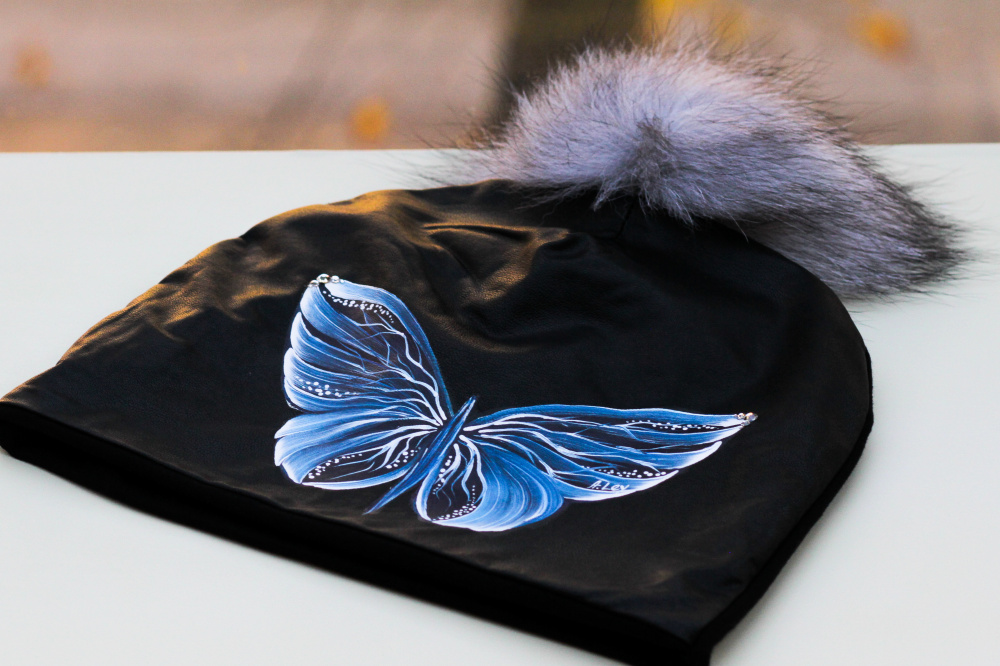 "Cotton and Faux Leather beanie - ""Blue Butterfly"" picture no. 2"