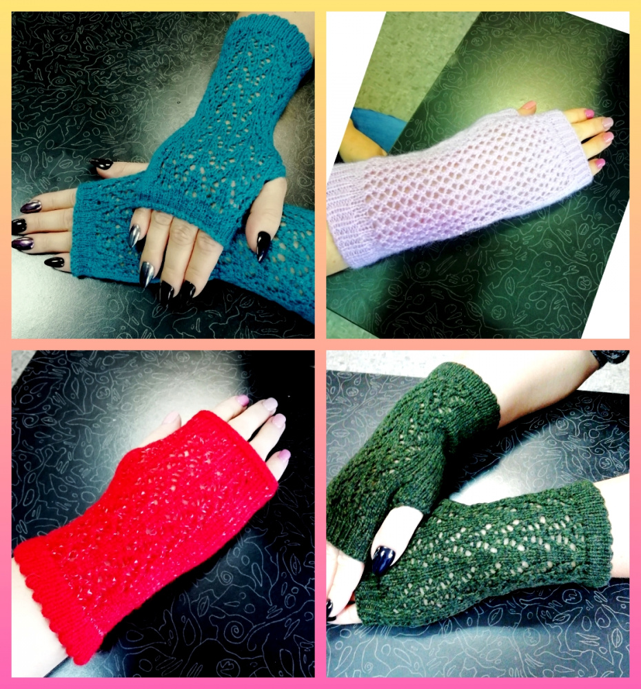 White, blue, green, pink, salad fingerless mitts picture no. 2