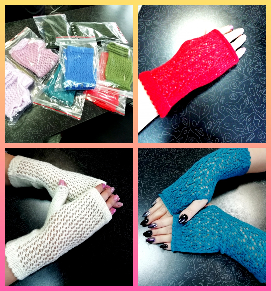 White, blue, green, pink, salad fingerless mitts