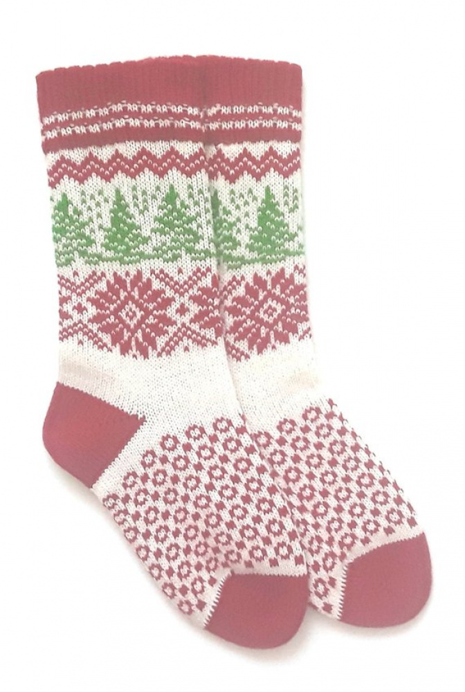 Christmas wool socks with patterns Hand made wool socks Christmas wrapped picture no. 2