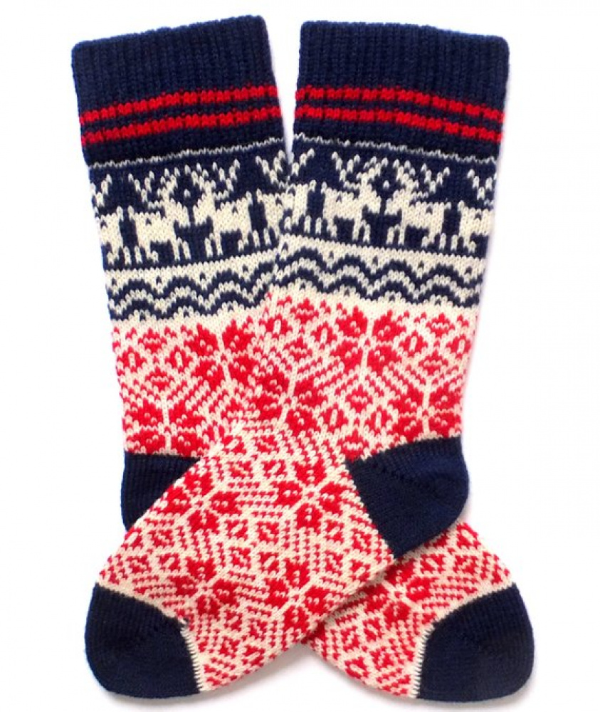 Christmas wool socks with patterns Hand made wool socks Christmas wrapped picture no. 3