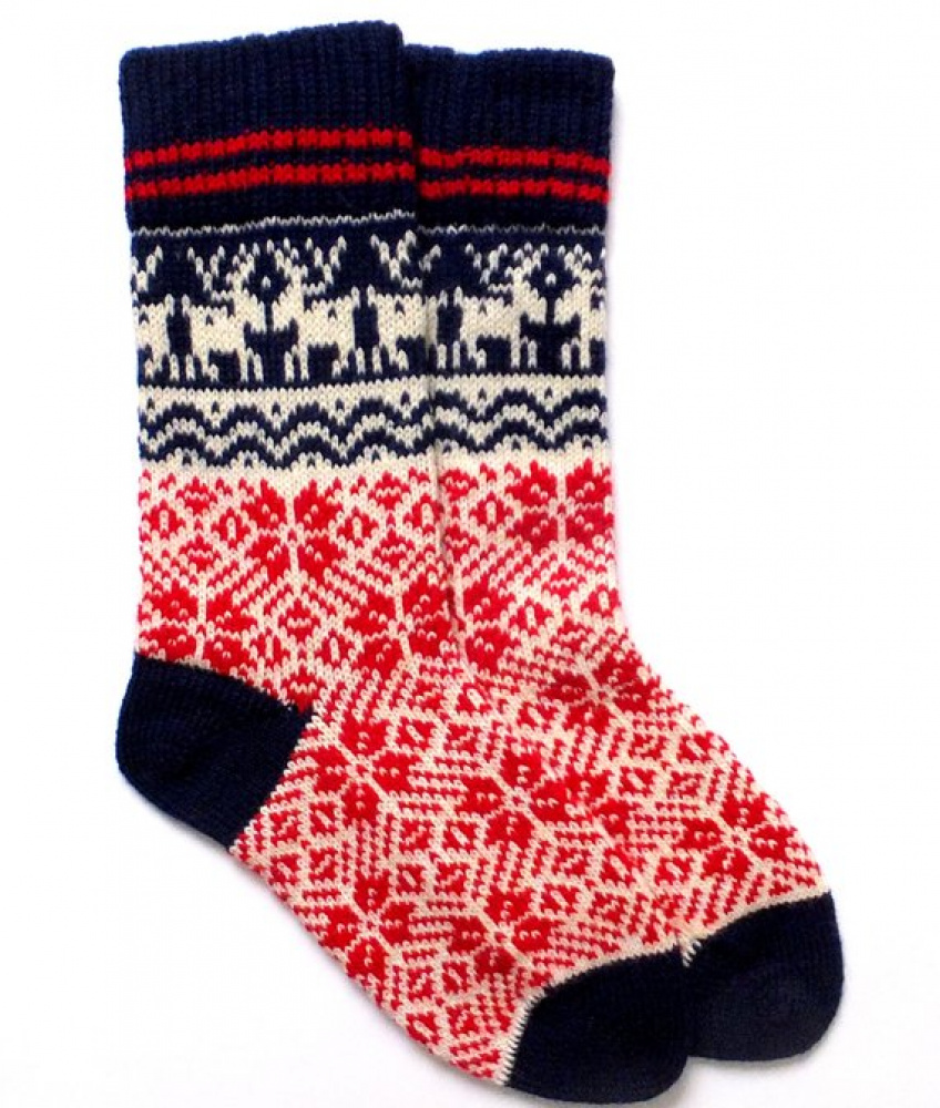 Christmas wool socks with patterns Hand made wool socks Christmas wrapped