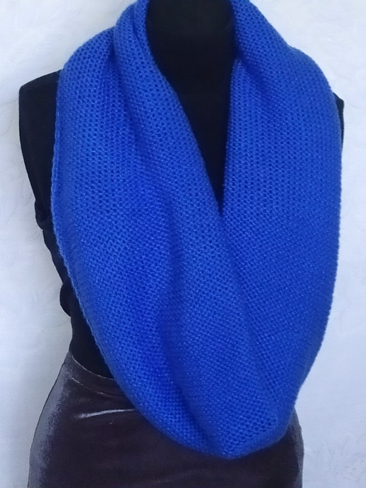 Blue big knitted scarf