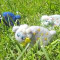 Three sheep in a meadow - Brooches - felting
