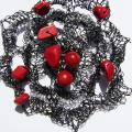 Black brooch with coral - Brooches - needlework