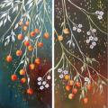 Golden cherry 40x40 (diptych) - Oil painting - drawing