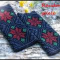 Red flower - Wristlets - knitwork