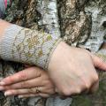 Grey Arm Warmers, Wrist Warmers Beaded amber yellow color, Unique Handmade, Fing - Wristlets - knitwork