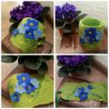 """ violet flowers "" - For interior - felting"