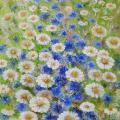 And cornflower daisy 30x60 - Oil painting - drawing