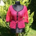 Red, handmade knitt jacket with red buttons and black lace - Blouses & jackets - knitwork