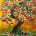 Bonsai cherry 60x75, oil on canvas. - Oil painting - drawing