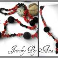 Handmade Jewelry Felted Wool Red Coral Onyx Necklace Gemstone Beads Fashion  - Necklace - beadwork