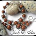 Handmade Jewelry Set Sandstone Necklace Earrings Gemstone Beads Pendant - Kits - beadwork